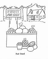 Coloring Pages Fall Fruit Stand Harvest Sheets Cart Season Template Sketch Activity Templates Honkingdonkey sketch template