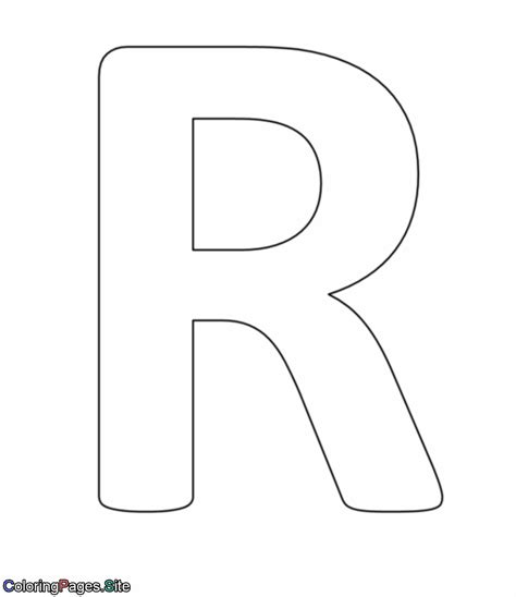 Coloring Letter R by R Letter Alphabet Coloring Page