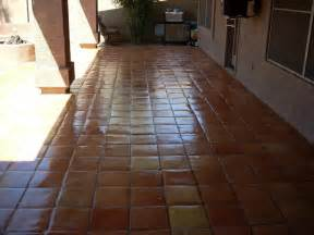 outdoor saltillo tile patio after stripping cleaning and