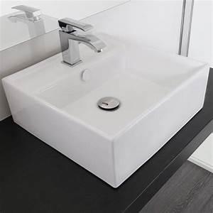 Lavandino da appoggio 41x41 cm ceramica bianco predisposizione per rubinetto