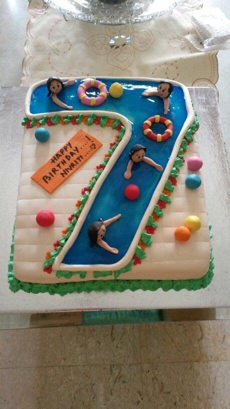 number  swimming pool cake party rock pool