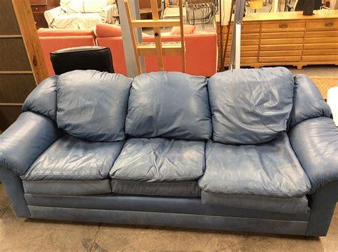 Blue Leather Overstuffed Sofa