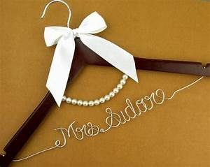 Personalized wedding dress hanger with pearls wire name for Custom wedding dress hanger