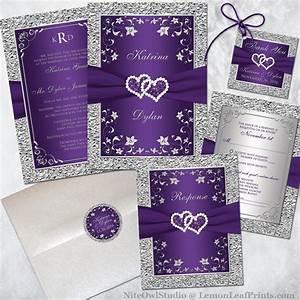 Purple Silver Wedding Invitation Set | Joined Hearts Jewel ...