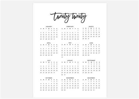 calendar simple calendar year calendar etsy