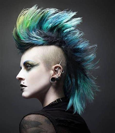 mohawk punk hairstyle  women fashion punk haircut