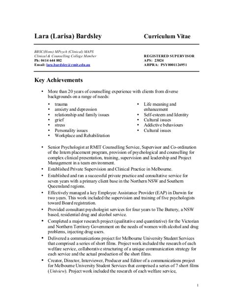 Clinical Psychologist Resume by Clinical Psychologist Resume