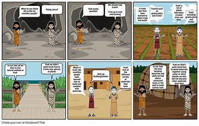 Neolithic Paleolithic Comic Strip Times Storyboard Loit