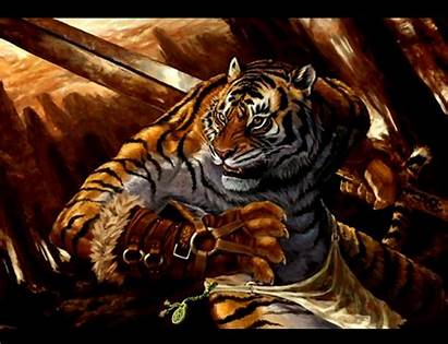 Tiger Warrior 3d Fantasy Wallpapers Cats Mythical