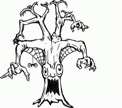 Coloring Halloween Spider Scary Ausmalbilder Disegni Baum