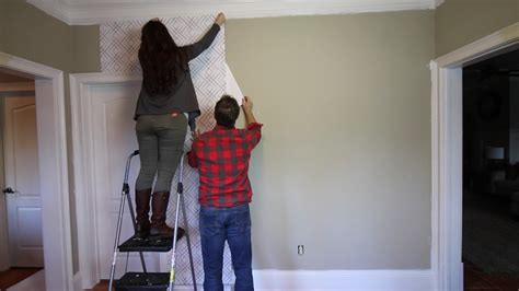 HOW TO WALLPAPER WALL with Peel & Stick Wallpaper YouTube