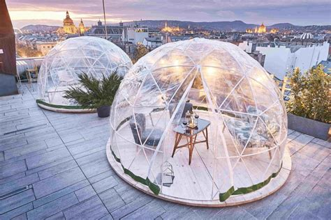 garden igloo 360 enjoy the wintry of budapest from a rooftop igloo bar