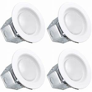 Luxrite 4 Inch Led Recessed Light With Junction Box  10w  3000k Soft White  Dimmable Airtight