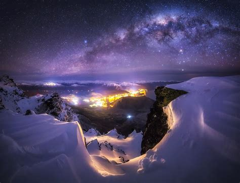 Landscape Nature Milky Way Galaxy City Starry Night