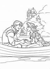 Rapunzel Boat Flynn Coloring Tangled Princess Cartoon sketch template