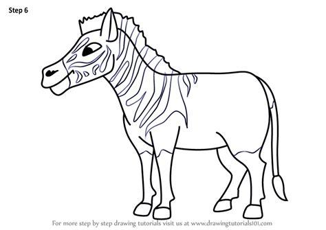 learn   draw  cartoon quagga cartoon animals step  step drawing tutorials