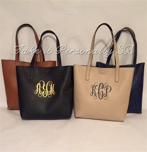 monogram purse monogrammed faux leather tote bag