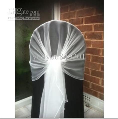 65cm 200cm white chair cover wrap tie back organza