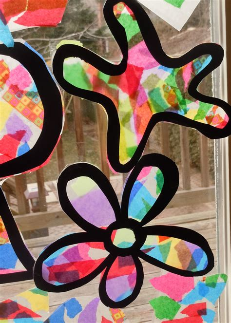 tissue paper stained glass craft   kids paper