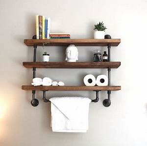 Shelving unit reclaimed wood shelving industrial storage for Metal bathroom shelving unit