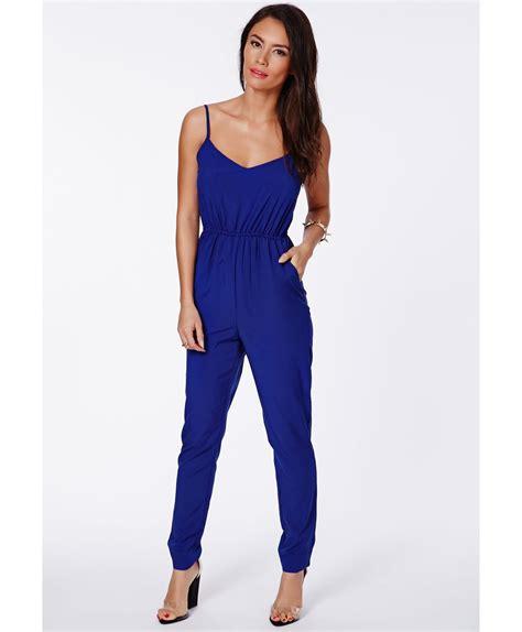 cobalt blue jumpsuit lyst missguided kelsey cobalt blue tailored strappy