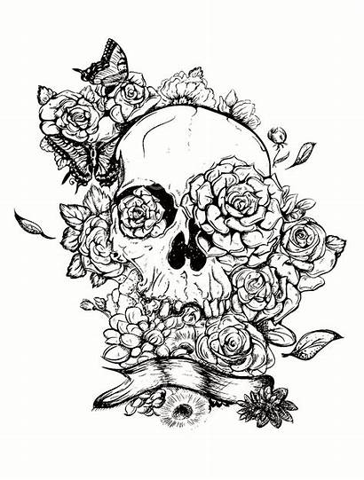 Coloring Skull Pages Halloween Adults Flower Sheets