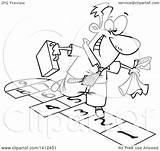 Hopscotch Playing Clipart Cartoon Businessman Lineart Illustration Royalty Vector Leishman Ron Toonaday sketch template