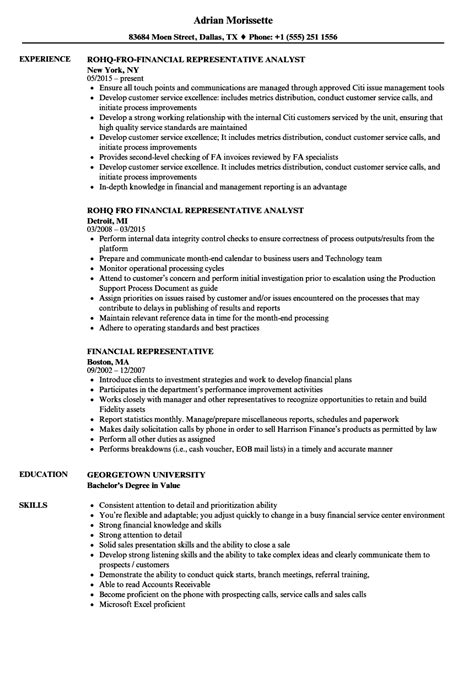 Financial Service Representative Resume by Financial Representative Resume Bijeefopijburg Nl