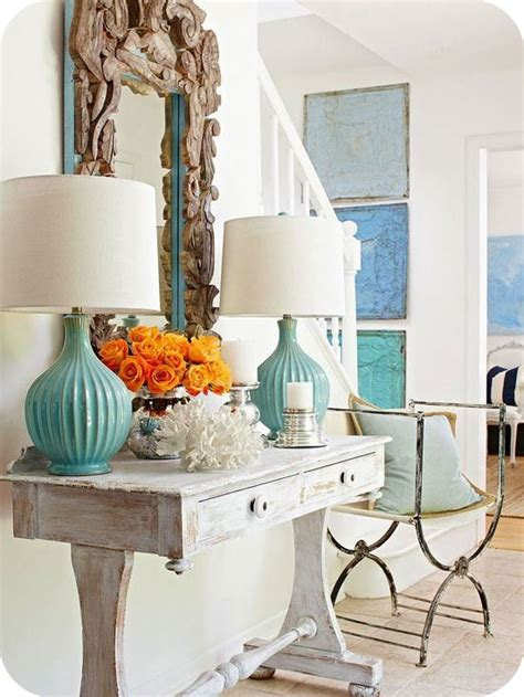 turquoise  orange decor becoration
