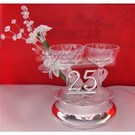 silver wedding anniversary cake topper decoration