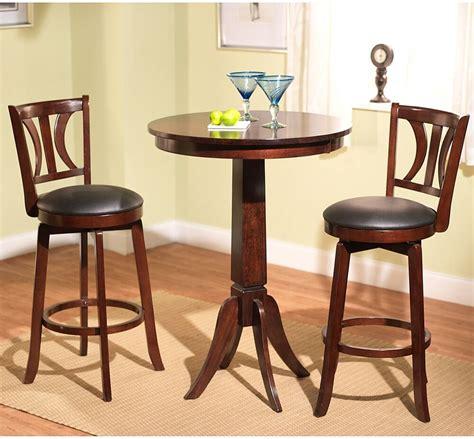 3 Piece Pub Table Set Mahogany Finish Kitchen Stools
