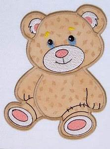 Applique Teddy Bear Machine Embroidery Design in 3 sizes