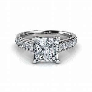 Cross prong princess cut engagement ring in 14k white gold for Princess cut solitaire engagement ring with wedding band