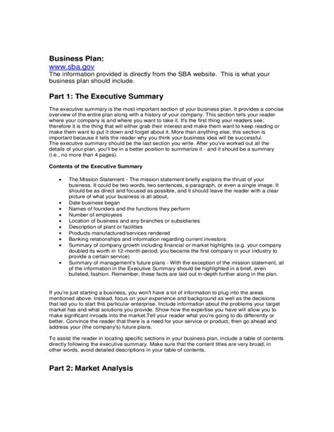 sba gov forms sba business plan template free download