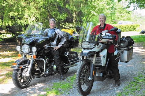 Women Prepare To Travel Cross Country On Motorcycles
