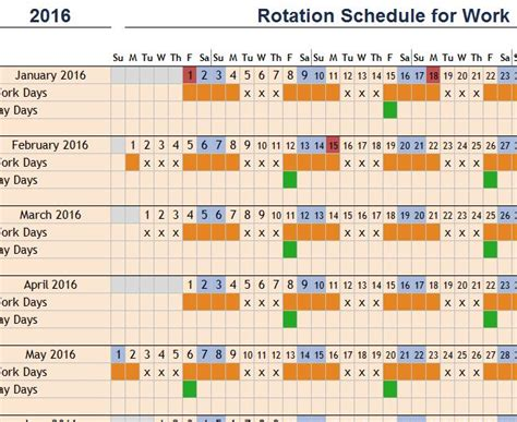 rotation schedule  work  excel templates