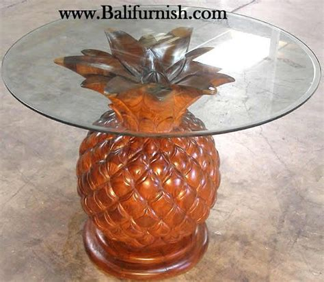 carved wood pineapple glasstop table home decor