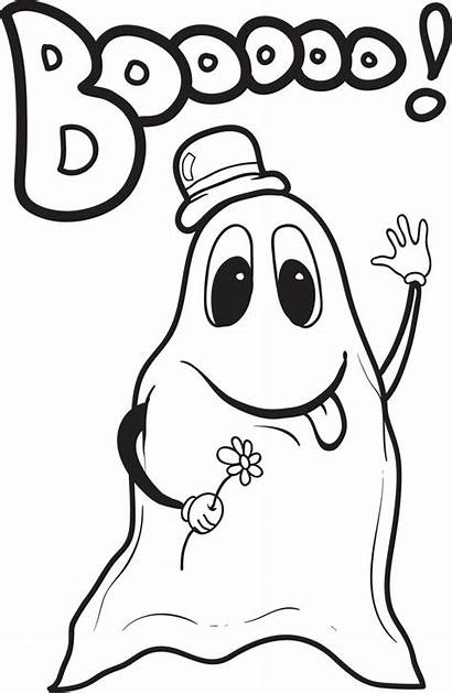 Ghost Coloring Printable Pages Halloween Sheets Boo