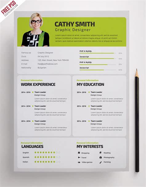 Designer Resume Templates Psd by Designer Resume Template Free Psd Psdfreebies