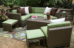 Ae outdoor hampton 8 piece sectional sofa set with for Outdoor sectional sofa sunbrella