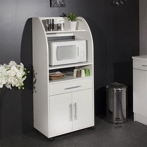 caisson à tiroir bureau meuble desserte micro ondes sur roulettes l63xp40xh138cm blanc