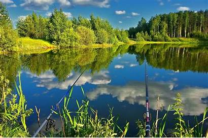 Fishing Pond Wallls Rest Trees Forest