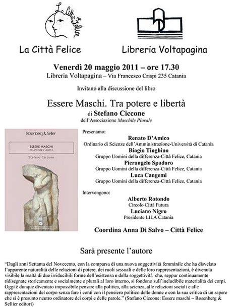 libreria voltapagina catania catania 20 mag 2011 essere maschi presentazione