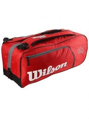 wilson roger federer team  pack tennis racket bag red tennisheartcouk