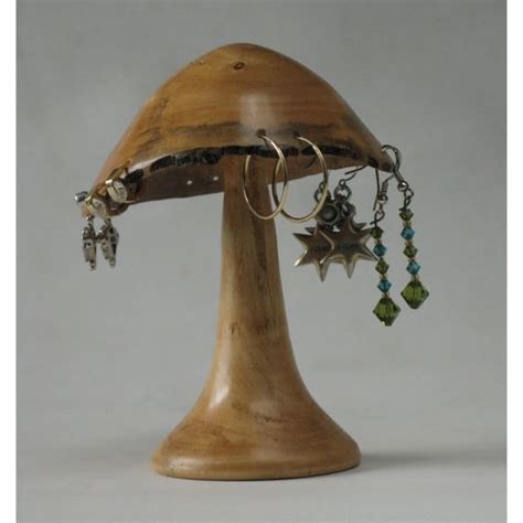 woodturned mushroom earring holder  box elder