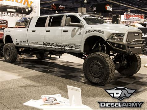 monster trucks shows 2014 sema 2014 diesel sellerz 39 s extreme 6 door show truck