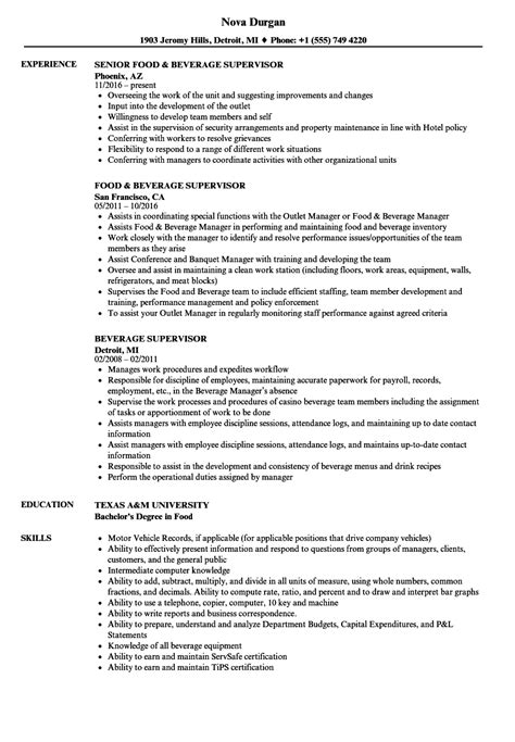 Beverage Supervisor Resume Samples | Velvet Jobs