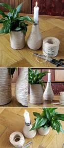 Vasen Dekorieren Tipps : vasen und kerzenst nder selber machen mit hanfschnur und konservendosen glasflaschen diys ~ Eleganceandgraceweddings.com Haus und Dekorationen