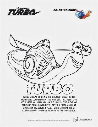 Turbo Coloring Pages Printable Dreamworks Sheets Activity