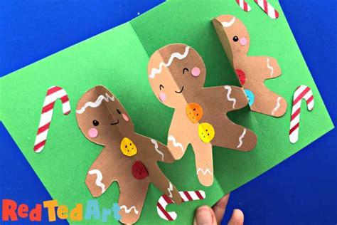 pop  gingerbread man card   christmas fun red ted art